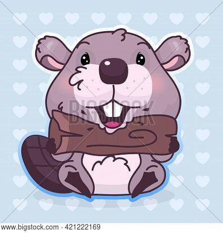 Cute Beaver Kawaii Cartoon Vector Character. Adorable, Happy And Funny Animal Biting Wood Log Isolat