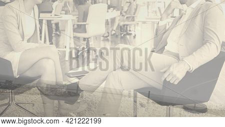 Composition of midsection of business people talking in office. global business and finance concept digitally generated image.