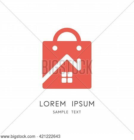 Home And Shopping Bag Logo - House With Window And Chimney, Real Estate Purchase And Sale Symbol. Re
