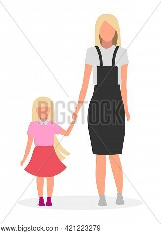 Mother With Daughter Flat Vector Illustration. Family Lookbook Concept. Blonde Younger And Older Sis