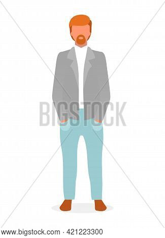 Casual Style Red Haired Guy Flat Vector Illustration. Confident Man In Formal Menswear Cartoon Chara