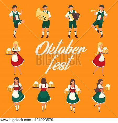 Oktoberfest Social Media Post Mockup. Folk Music And Dances. Beer Festival. Advertising Web Banner D