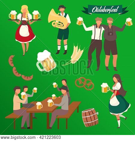 Oktoberfest Flat Vector Illustrations Set. Visitors With Cups Of Alcohol. Waiters In National Costum