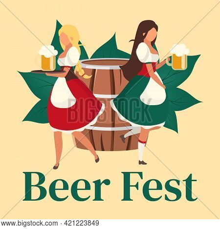 Beer Fest Social Media Post Mockup. Waiters Serving Drinks. Oktoberfest. Advertising Web Banner Temp