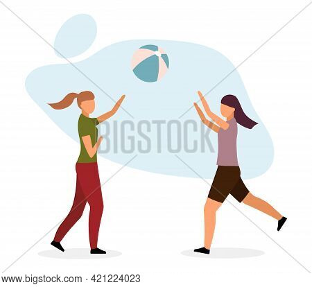 Girls Playing Ball Game Flat Vector Illustration. Female Friends, Sisters Enjoy Outdoor Activities I