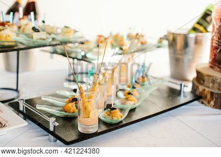 Portion Snacks Close-up, Canape, On Buffet Table. Party With Buffet. Selective Focus.