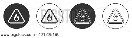 Black Fire Flame In Triangle Icon Isolated On White Background. Warning Sign Of Flammable Product. C