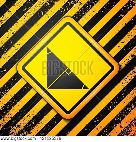 Black Angle Bisector Of A Triangle Icon Isolated On Yellow Background. Warning Sign. Vector