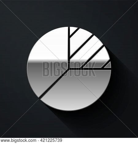 Silver Pie Chart Infographic Icon Isolated On Black Background. Diagram Chart Sign. Long Shadow Styl