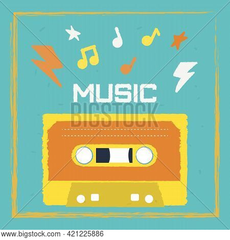 Stylish And Bright Poster In The Style Of The 90s With A Cassette. Vector Image