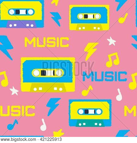 Bright Patter In The Style Of The 90s With Cassettes. Vector Image