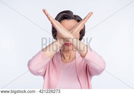 Photo Of Serious Strict Mature Lady Wear Pink Clothes Arms Crossed Cover Face Isolated White Color B