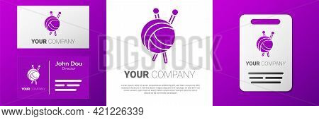 Logotype Yarn Ball With Knitting Needles Icon Isolated On White Background. Label For Hand Made, Kni