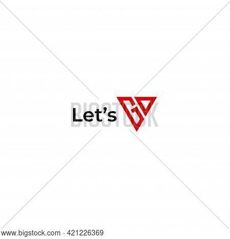 A Wordmark Logo About Let's Go Which Is Designed From Geometric Triangles. Eps10, Vector.