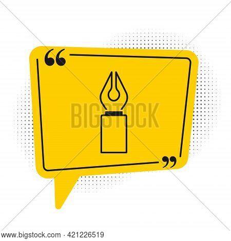 Black Fountain Pen Nib Icon Isolated On White Background. Pen Tool Sign. Yellow Speech Bubble Symbol