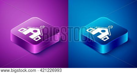 Isometric Church Building Icon Isolated On Blue And Purple Background. Christian Church. Religion Of