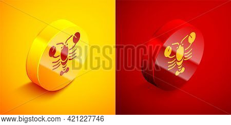 Isometric Lobster Icon Isolated On Orange And Red Background. Circle Button. Vector