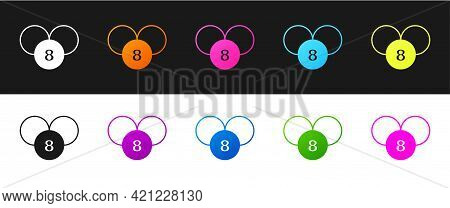 Set Bingo Or Lottery Ball On Bingo Card With Lucky Numbers Icon Isolated On Black And White Backgrou