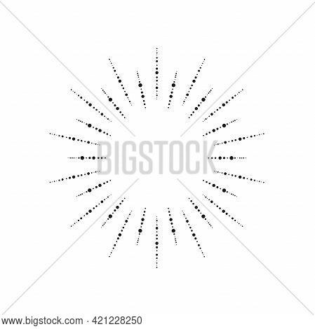Light Rays Frame With Dots. Shine Burst Background. Radiant Spark. Vector Illustration. Sun Beam Ray