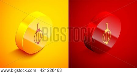 Isometric Dust Blower Icon Isolated On Orange And Red Background. Air Duster. Lens Cleaner. Camera S