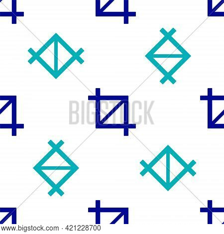 Blue Picture Crop Photo Icon Isolated Seamless Pattern On White Background. Vector