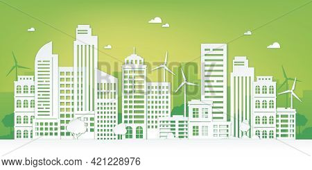 Paper Cut Eco City. Green Urban Landscape With Skyscraper, Trees And Wind Turbines. Sustainable Life