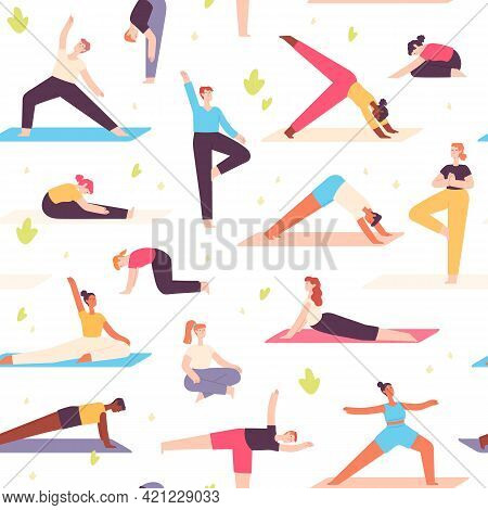 Yoga People Seamless Pattern. Men And Women Do Mental Health And Physical Exercise. Meditation, Rela