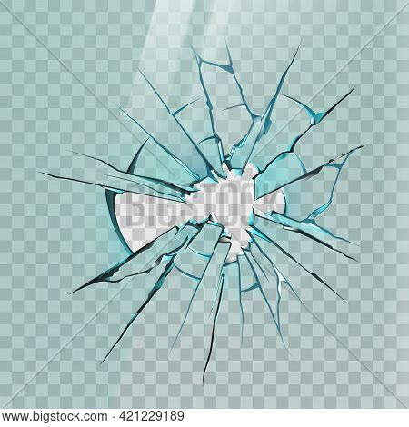 Broken Glass. Realistic Crack On Window, Ice Or Mirror With Sharp Shards And Hole. Smashed Screen Ef