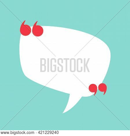 White Chat Speech Bubble With Red Quote Marks Isolated On Powder Blue Background. Vector Flat Icon.