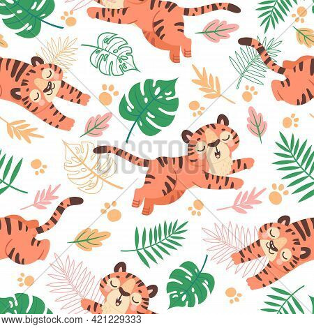 Baby Tiger Seamless Pattern. Cute Childish Cartoon Tigers, Paw Prints And Tropical Leaves. Jungle An