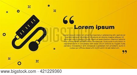 Black Electric Extension Cord Icon Isolated On Yellow Background. Power Plug Socket. Vector