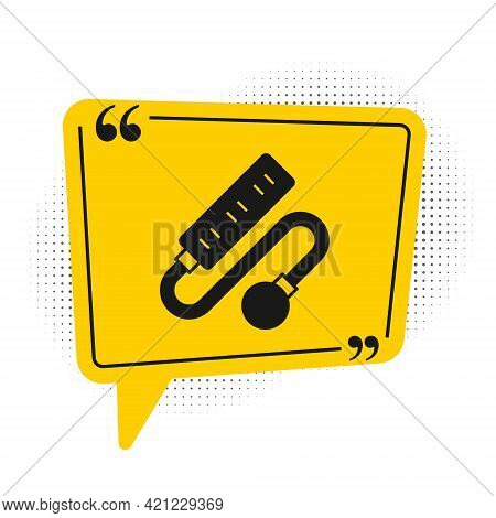 Black Electric Extension Cord Icon Isolated On White Background. Power Plug Socket. Yellow Speech Bu
