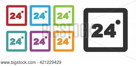 Black Thermostat Icon Isolated On White Background. Temperature Control. Set Icons Colorful. Vector