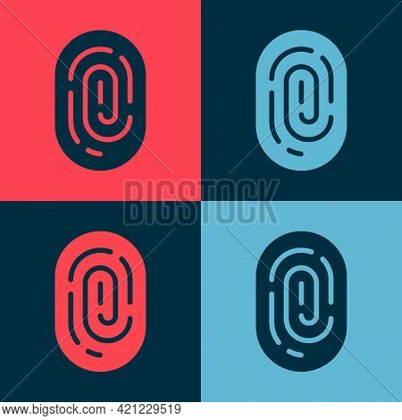 Pop Art Fingerprint Icon Isolated On Color Background. Id App Icon. Identification Sign. Touch Id. V