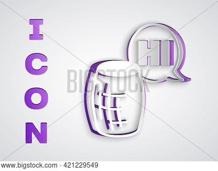 Paper Cut Voice Assistant Icon Isolated On Grey Background. Voice Control User Interface Smart Speak