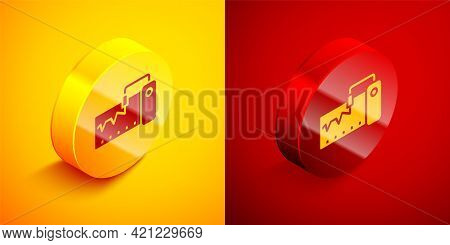 Isometric Electrical Measuring Instrument Icon Isolated On Orange And Red Background. Analog Devices