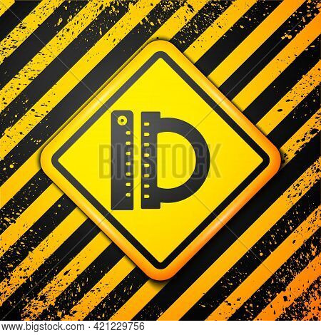 Black Protractor Grid For Measuring Degrees Icon Isolated On Yellow Background. Tilt Angle Meter. Me
