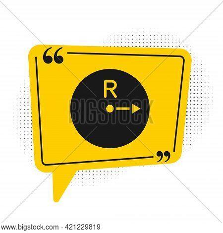 Black Radius Icon Isolated On White Background. Yellow Speech Bubble Symbol. Vector