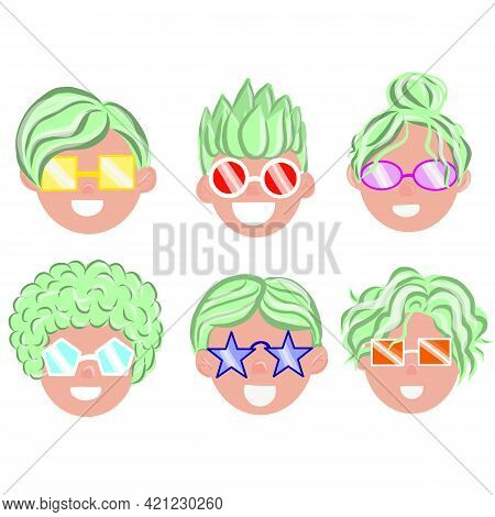 Cartoon Children Avatar Set. Male And Female Characters Faces. Smiling Young Men And Women Avatar Co