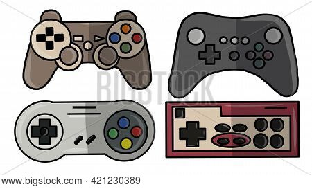Video Game Console. Gamepad Vector Illustration. Gamepad For Game Console.the Joystick For The Conso
