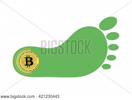 Bitcoin Footprint. A Trace In The History Of Cryptocurrencies. Bitcoin And Trail. Follow The Trail O