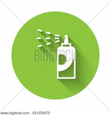 White Spray Can For Hairspray, Deodorant, Antiperspirant Icon Isolated With Long Shadow. Green Circl