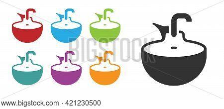 Black Washbasin Icon Isolated On White Background. Barber Washing Chair With Washbasin. Hair Washing