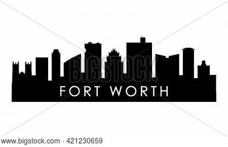 Fort Worth Skyline Silhouette. Black Fort Worth City Design Isolated On White Background.