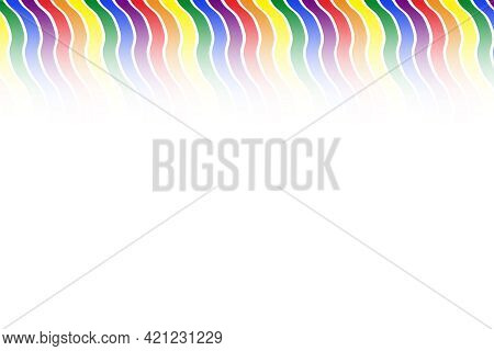 Rainbow Pride Colors Wavy Ribbon Gradient Fade From Top Holiday Illustration Banner Background Graph