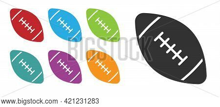 Black American Football Ball Icon Isolated On White Background. Rugby Ball Icon. Team Sport Game Sym