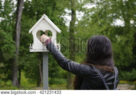 Girl Feeds Birds In A Feeder In An Spring Park, Back View. Girl Puts Food. Taking Care Of Birds, Nat