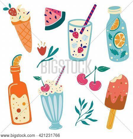 Summer Food And Drinks. Watermelon, Cherry, Ice Cream, Lemonade, Soda, Milkshake. Summer Vacation. C