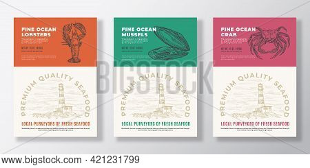 Seafood Vector Packaging Design Or Label Templates Set. Ocean And Sea Products Banners. Modern Typog