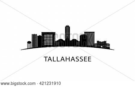 Tallahassee City Florida Skyline. Black Cityscape Isolated On White Background. Vector Banner.